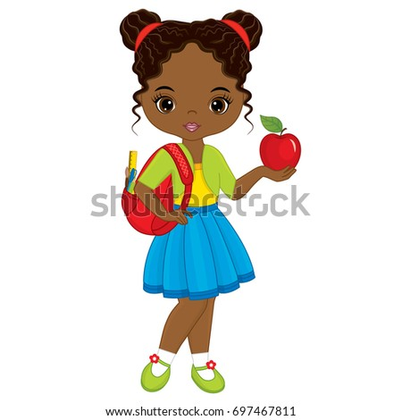 vector cute little african american girl stock vector 697467811 rh shutterstock com victor girls lacrosse victor girls basketball