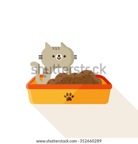 vector cute little cat, tabby kitten in plastic litter / cartoon, flat / on white - stock vector