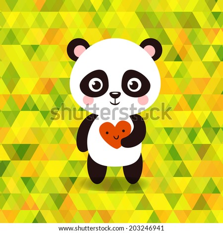 Vector cute little panda on triangles background. - stock vector