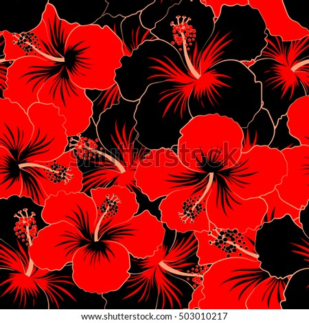 Vector Cute Pattern In Black And Red Hibiscus Flowers Small Colorful Motley
