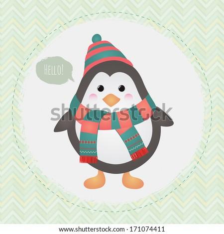 Vector Cute Penguin greeting card design illustration - stock vector