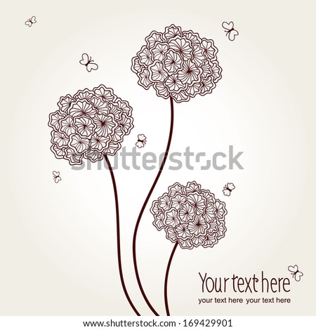 Vector cute picture with  hand-drawn flowers and butterflies on a white background.