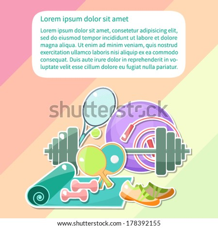 Vector. Cute pictures of fitness objects on colorful background with place for your text.