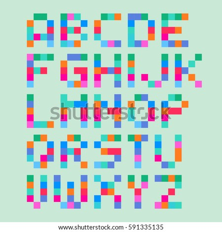 Vector cute pixel art font in 4x5 pixel grid. Simple alphabet.