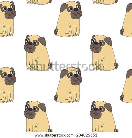 Vector cute pug vector pattern - stock vector