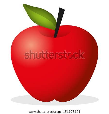 Vector Cute Red Apple - stock vector