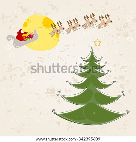 Vector cute retro hand drawn style Christmas greeting card with Santa's sleigh flying in front of the Moon - stock vector