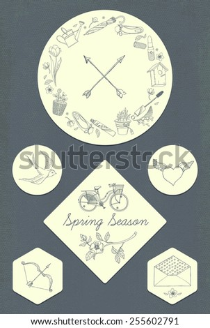 Vector cute retro looking romantic stickers and badges set on spring season ladies lifestyle with blossom branch, swallow bird and more. Ideal for scrap booking, wall art and greeting cards design. - stock vector