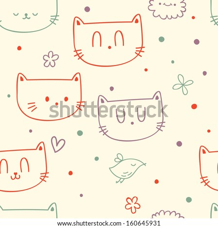 Vector cute seamless floral pattern with funny cat faces and birds - stock vector