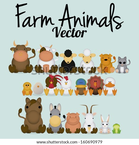 Vector Cute Set Of Different Farm Animals - stock vector