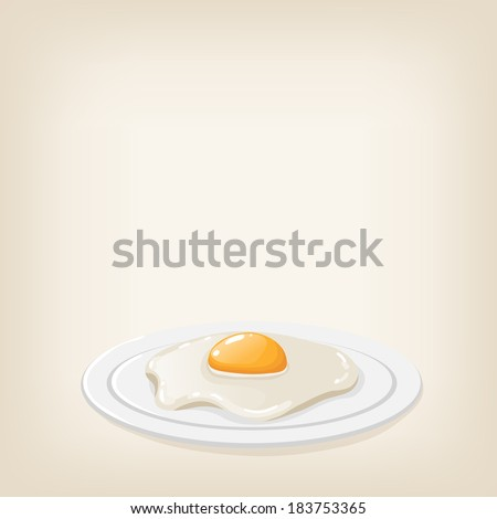 Vector cute shiny realistic fried egg on a plate - stock vector