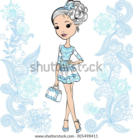 Vector cute smiling fashion baby girl in summer white and blue dress with bag - stock vector