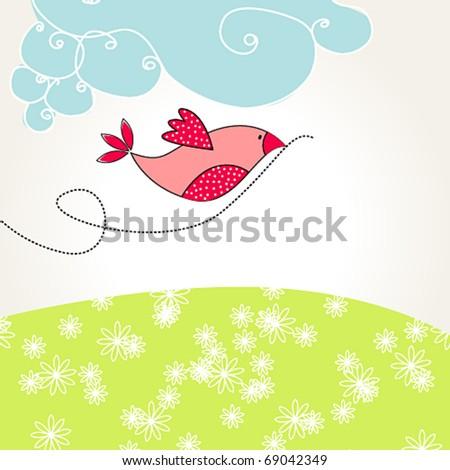 Vector cute spring bird illustration - stock vector