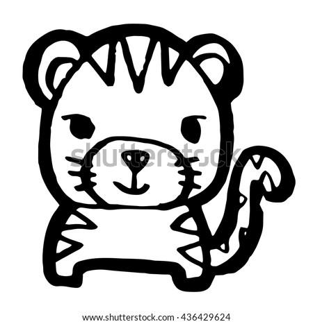 Vector Cute Tiger Cute Design Coloring Stock Vector HD (Royalty Free ...