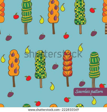 vector cute trees seamless pattern. It can be used for card, postcard, textile design, cover, poster. - stock vector