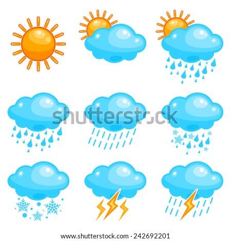 Vector cute weather icon set - stock vector