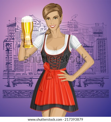 Vector cute woman in drindl on oktoberfest with beer - stock vector