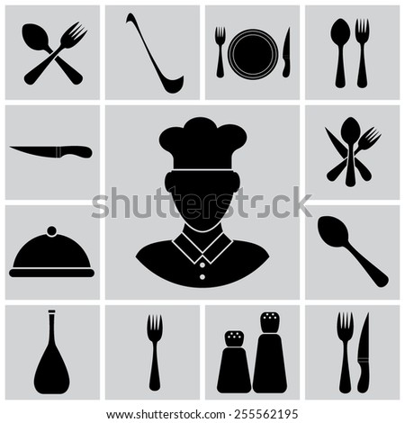 Vector cutlery icon set illustration - stock vector