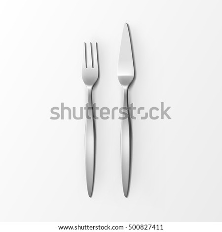 Vector Cutlery Set of Silver Fish Fork and Fish Knife Top View Isolated on White Background. Table Setting