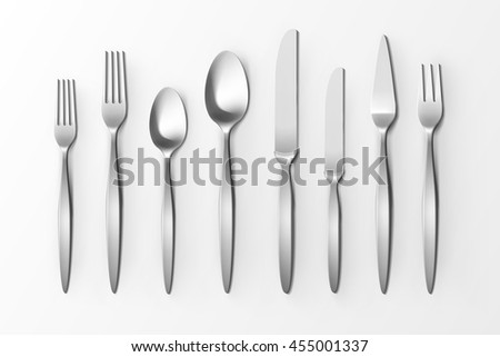 Vector Cutlery Set of Silver Forks Spoons and Knifes Top View Isolated on White Background.  sc 1 st  Shutterstock & Vector Cutlery Set Silver Forks Spoons Stock Vector 455001337 ...