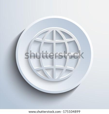 Vector cyan globe icon - stock vector