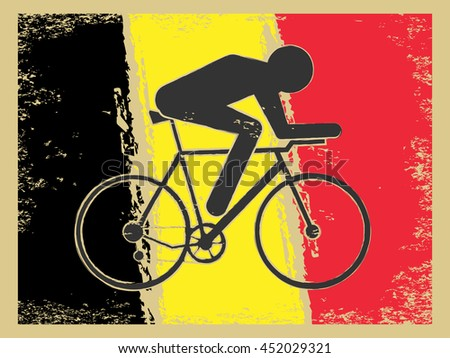 Vector cycling illustration - abstract figure of cyclist on a bike and national flag of Belgium. Active sports background - old style vintage Belgian cycle race. Retro postcard design - stock vector