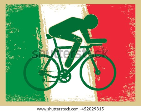 Vector cycling illustration - abstract figure of cyclist on a bike and national flag of Italy. Active sports background - old style vintage Italian cycle race. Retro postcard design - stock vector