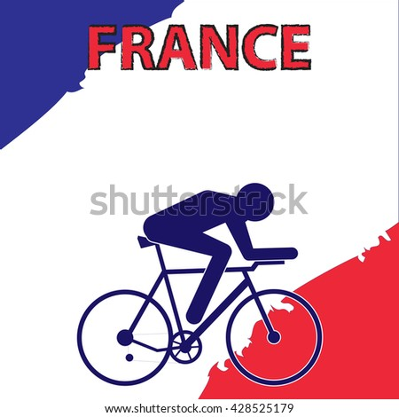 Vector cycling illustration - banner with abstract figure of cyclist on a bicycle and France national flag. Design template for Tour de France cycle rise competition.