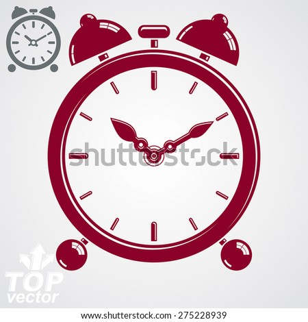 Vector 3d alarm clock with two symmetric bells. Wake up conceptual icon, additional version included. Graphic design element �¢?? get up theme. Red retro timer with clang bells. - stock vector