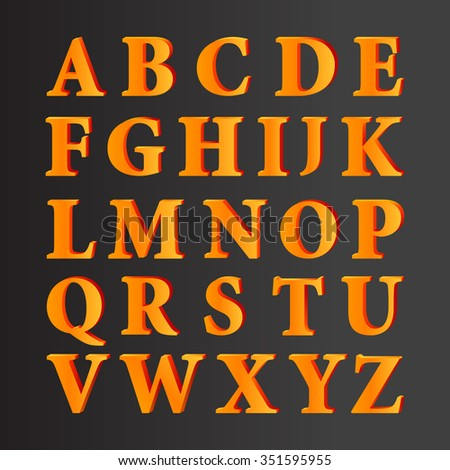 Vector 3D Alphabet Set Letters With Gradient Fill On Black - stock vector