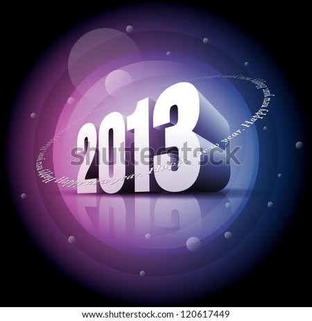 "Vector 3d 2013 and ""Happy New Year"" text. Elements are layered separately in vector file. - stock vector"