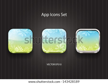 Vector 3d app icons with floral theme