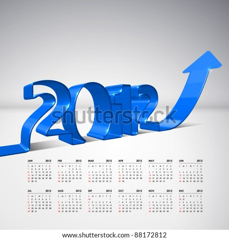 Vector 3D Arrow Moving Upward with 2012 and Calendar - stock vector