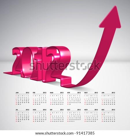 Vector 3D Arrow Moving Upward with 2012 and Calendar - stock vector