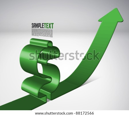 Vector 3D Arrow Moving Upward with Dollar Sign - stock vector