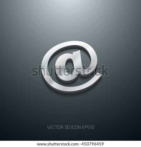 Vector 3d at sign stainless steel metallic glossy icon - stock vector