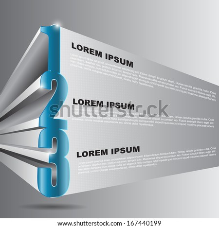 Vector 3D background with 1 2 3 steps and place for text content. Can be used for brochure, poster, flyer and other printed. - stock vector