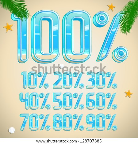 vector 3d beach summer vacation font Percents templates for sale 100%, 90%, 80%, 70%, 60%,  50%, 40%, 30%, 20%, 10% - stock vector