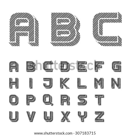vector 3D black striped font alphabet letters  - stock vector