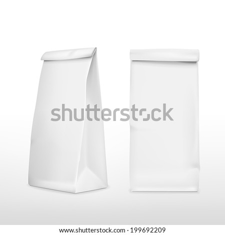 vector 3d blank paper bag template isolated on white background - stock vector