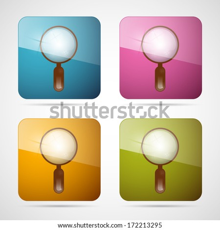 Vector 3d Blue, Pink, Orange and Green Magnifying Glass Square Icons Set - stock vector