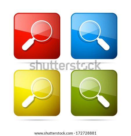 Vector 3d Blue, Red, Yellow and Green Magnifying Glass Square Icons Set - stock vector
