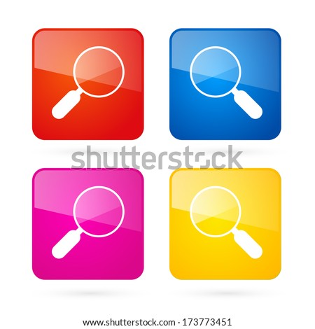 Vector 3d Blue, Red, Yellow and Pink Magnifying Glass Square Icons Set  - stock vector