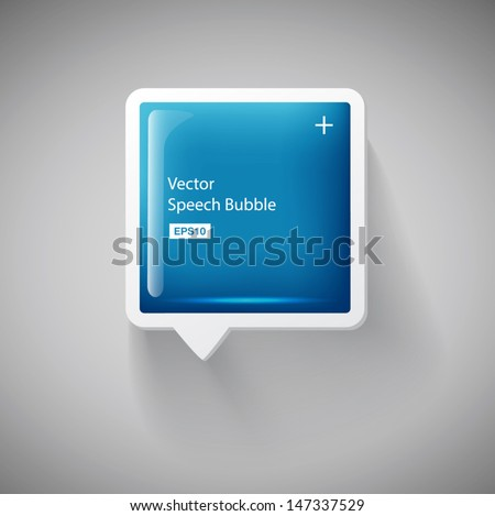 Vector 3d blue square plastic glossy speech bubble - stock vector