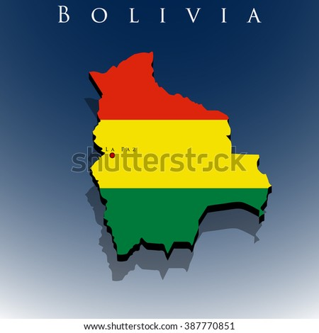vector 3d Bolivia map with a flag on a blue background, EPS 10