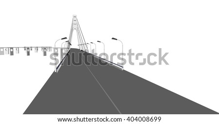 Vector 3D bridge City buildings view