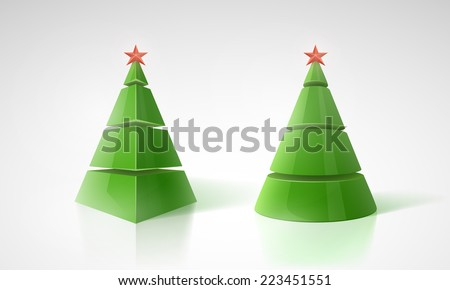 Vector 3d Christmas tree background with red star and place for text. - stock vector
