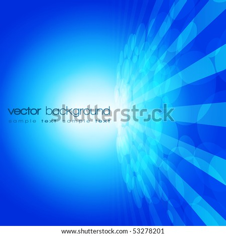 Vector 3D circle and perspective lines on the blue background with text