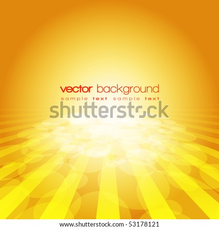 Vector 3D circle and perspective lines on the gold background with text - stock vector