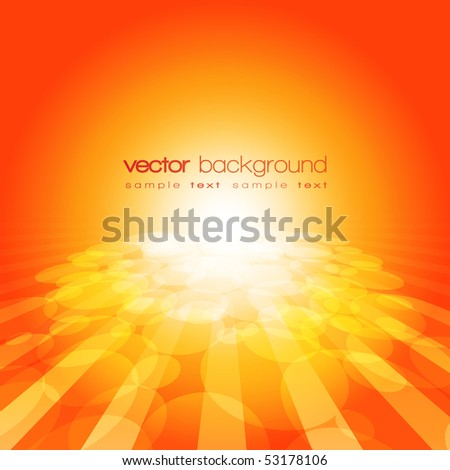 Vector 3D circle and perspective lines on the orange background with text - stock vector
